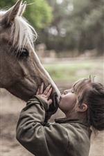 Horse and girl, kiss, friends