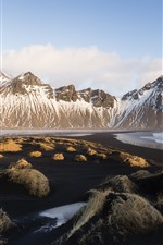 Preview iPhone wallpaper Iceland, Vestrahorn, coast, sea, grass, mountains
