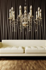 Preview iPhone wallpaper Interior, sofa, chandelier, vase, plants