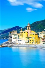 Preview iPhone wallpaper Italy, Camogli, Liguria, sea, houses, city, blue sky