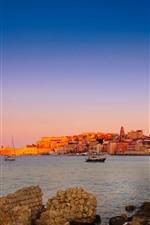 Itália, lazio, gaeta, cidade, casas, mar, barcos, costa
