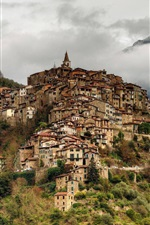 Preview iPhone wallpaper Italy, Liguria, Apricale, city, mountains, fog