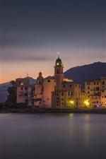 Italy, Liguria, Camogli, coast, sea, city, night, lights