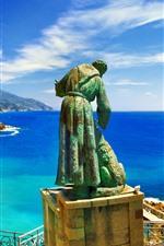 Preview iPhone wallpaper Italy, Liguria, statue, sea, coast
