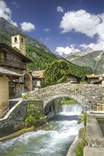 Preview iPhone wallpaper Italy, Piedmont, village, bridge, river, mountain
