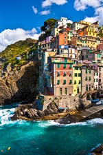 Preview iPhone wallpaper Italy, Riomaggiore, houses, sea, coast, boats