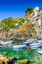 Preview iPhone wallpaper Italy, Riomaggiore, sea, coast, boats, houses