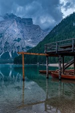 Preview iPhone wallpaper Italy, South Tyrol, Braies Lake, dock, boats, mountains