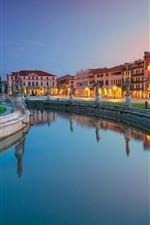 Itália, Praça Prato della Valle, estátuas, água, rio, Padova