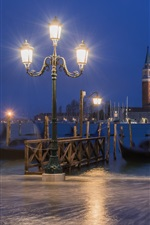 Italy, Venice, gondola, boats, river, night, lamps