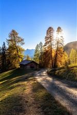 Itália, estrada, cabana, montanhas, árvores, nascer do sol