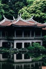 iPhone fondos de pantalla Japón, Tokio, templo, árboles, estanque