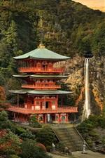 Japan, temple, waterfall, beautiful landscape
