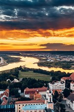 Preview iPhone wallpaper Kaunas, Lithuania, city top view, houses, river, sunset