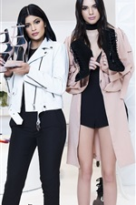Preview iPhone wallpaper Kendall Jenner, Kylie Jenner, two girls, advertising