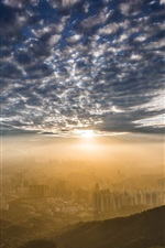 Kowloon Peak, Hong Kong, city morning, clouds, sunrise, fog
