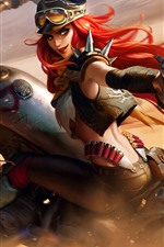 Preview iPhone wallpaper League of Legends, Miss Fortune, motorcycle, gun, art picture