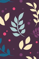 Preview iPhone wallpaper Leaves, purple background, art picture