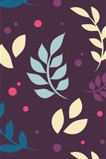 Folhas, fundo roxo, imagens de arte