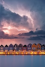 Preview iPhone wallpaper Lightning, houses, river, clouds, storm