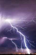 Preview iPhone wallpaper Lightning, storm, bad weather, night