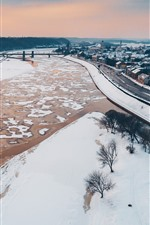 Preview iPhone wallpaper Lithuania, Kaunas, beautiful city, winter, snow, houses, river