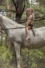 Preview iPhone wallpaper Little boy sit on white horse