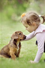 Preview iPhone wallpaper Little girl and dog are friends