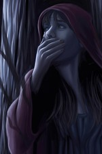 Preview iPhone wallpaper Little red riding hood, girl, wolf, night, forest, art picture
