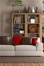 Preview iPhone wallpaper Living room, interior, sofa, books