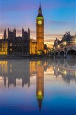 London, river, bridge, Big Ben, lights, fog