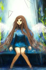 Preview iPhone wallpaper Long hair girl, angel, wings, art picture