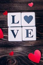 iPhone обои Любовь сердца, кубики, деревянная доска