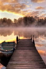 Preview iPhone wallpaper Morning, fog, lake, pier, boat, trees