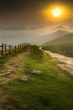 Mountains, fence, fog, sunrise