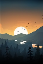 Preview iPhone wallpaper Mountains, hills, sunset, birds, art picture