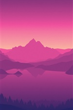 Preview iPhone wallpaper Mountains, lake, forest, trees, dusk, art picture