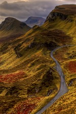 Preview iPhone wallpaper Mountains, road, lake, clouds, sunset, nature landscape