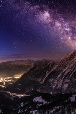 Mountains, stars, light, night