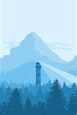 Preview iPhone wallpaper Mountains, trees, snowy, lighthouse, winter, art picture
