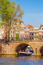 iPhone обои Нидерланды, Амстердам, город, мост, река, люди