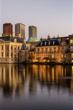 Preview iPhone wallpaper Netherlands, Hague, houses, river, dusk