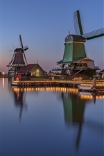 Preview iPhone wallpaper Netherlands, windmill, river, water reflection, dusk