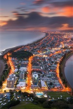 Preview iPhone wallpaper New Zealand, Tauranga, city, top view, lights, dusk, sea