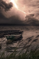 Preview iPhone wallpaper Night, lake, boat, lightning, storm
