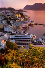 Preview iPhone wallpaper Norway, Alesund, city, sea, sunset