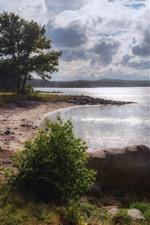 Norway, Hasla, lake, trees, stones, clouds