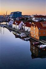 Noruega, rogaland, haugesund, cidade, casas, rio, barcos
