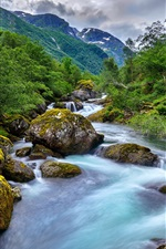 Preview iPhone wallpaper Norway, mountains, creek, stones, beautiful nature landscape