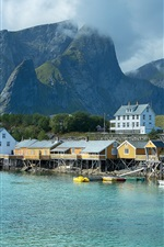 Preview iPhone wallpaper Norway, pier, houses, sea, mountains